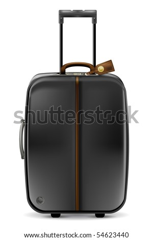 Black suitcase on white-realistic vector illustration - stock vector