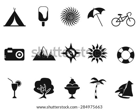 black summer icons set - stock vector