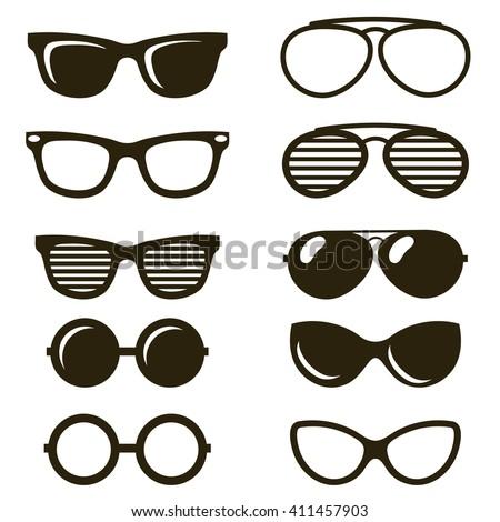 black sunglasses set - stock vector