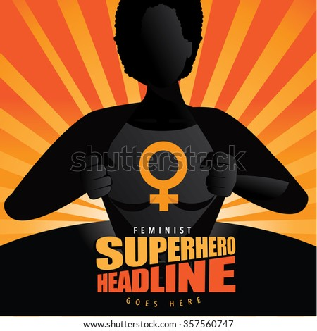 Black super hero woman tears open her shirt to reveal the super insignia or message in copy space. EPS 10 vector. - stock vector
