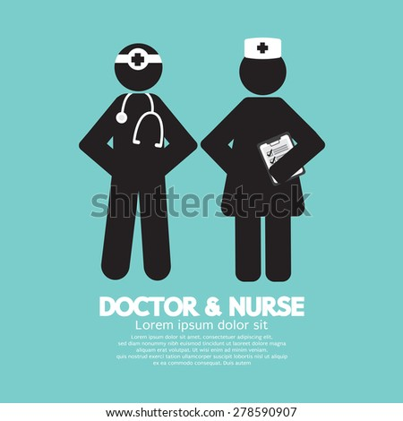 Black Symbol Doctor And Nurse Vector Illustration - stock vector