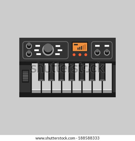 black synthesizer flat icon, vector illustration - stock vector