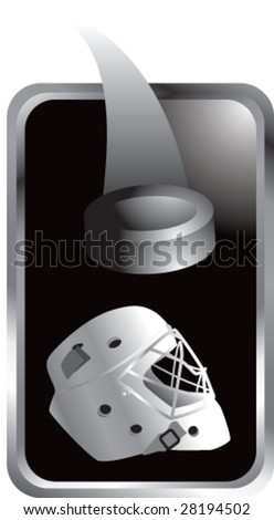 black tab hockey logo - stock vector