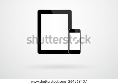 Black Tablet And Smartphone Gadgets In iPad And iPhone Style Mock Up - stock vector