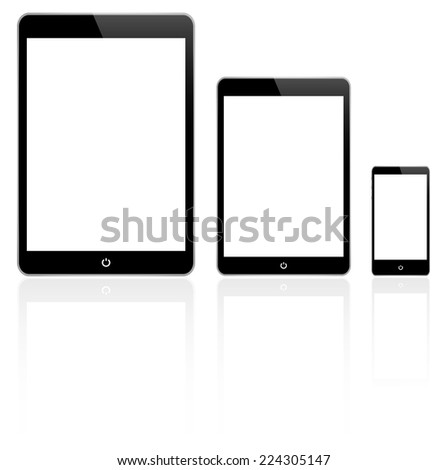 Black Tablet And Smartphone Vector Similar To iPad Air And iPhone With Reflection - stock vector