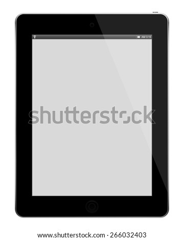 Black tablet computer with blank screen isolated on white background. - stock vector