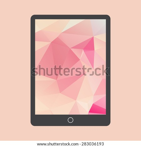 Black Tablet Computer with triangle background.  Illustration Similar To iPad . - stock vector