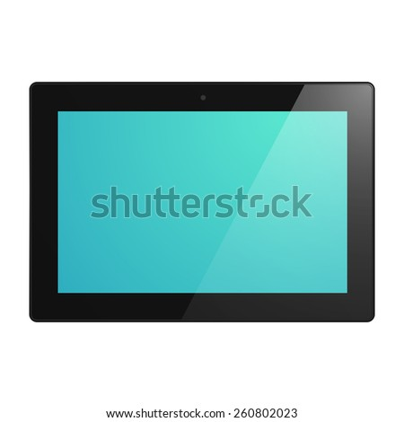Black Tablet Computer with turquoise display. Illustration Similar To iPad. - stock vector