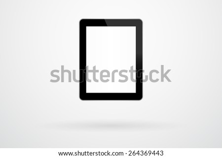 Black Tablet Gadget In iPad Style On Background With Shadow - stock vector