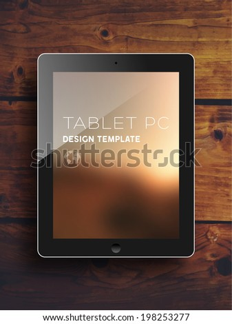 Black Tablet PC with Blurred Background. Vintage Wood Texture. Vector. - stock vector