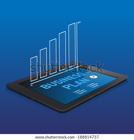 Black tablet with abstract BUSINESS PLAN graphics on display -  vector illustration. - stock vector