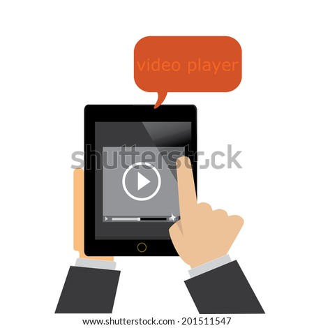 black tablet with video player on the screen - stock vector