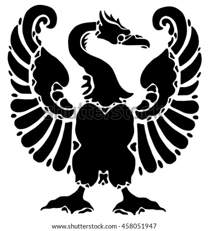 Black tattoo of an eagle on white background. Victorian style, vintage. Emblem, symbol. Heraldic symbol, the nobility. - stock vector
