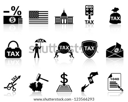 black tax icons set - stock vector