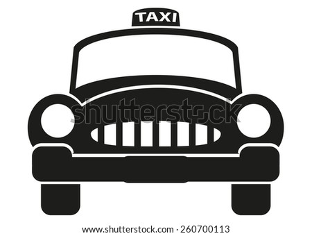 Black taxi cab icon - stock vector