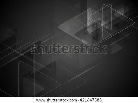 Black tech background with triangles shape. Vector graphic polygonal design - stock vector