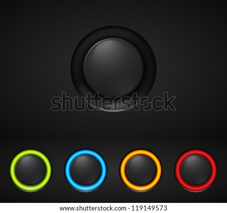 Black technology buttons with glowing elements. Vector illustration. - stock vector