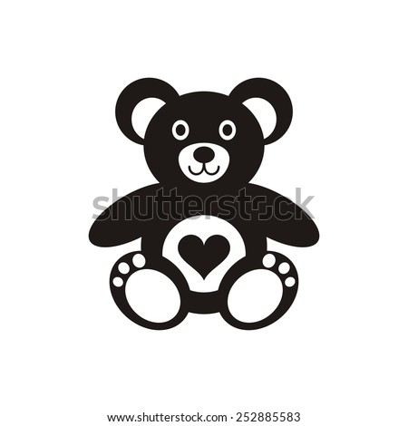 Black teddy bear icon with heart on white - stock vector