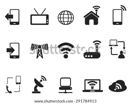 black telecom icons set - stock vector
