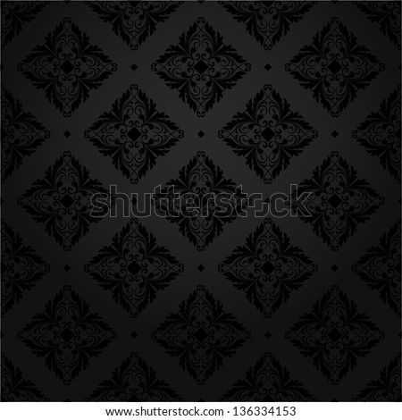 Black texture tile wallpaper. Floral pattern. A seamless vector background. - stock vector