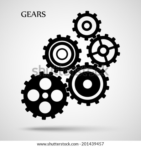 black toothed gears ( cogs ) is meshed on gray background. vector illustration eps10 - stock vector
