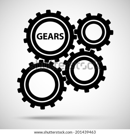 black toothed gears (cogs) is meshed on gray background. vector illustration eps10 - stock vector