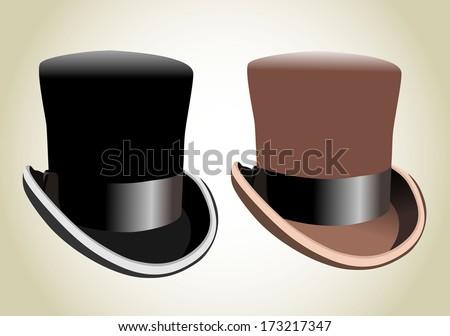 Black top hat - stock vector