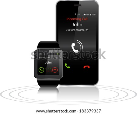 Black Touchscreen Smartwatch and Smartphone with incoming call on display - stock vector