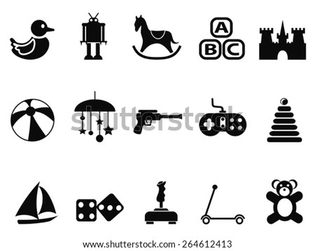 black toy icons set - stock vector