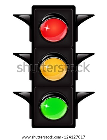 Black traffic light with reflections on a white background - stock vector
