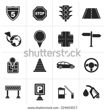 Black Traffic, road and travel icons - vector icon set - stock vector