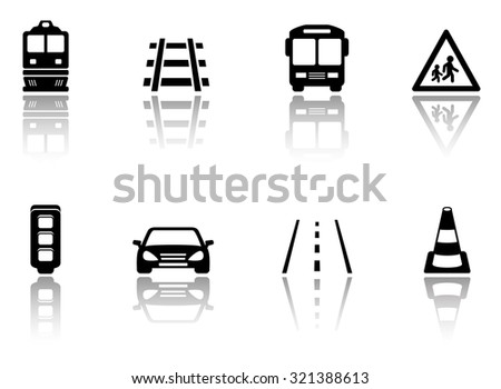 black transport icons set with mirror reflection silhouette - stock vector