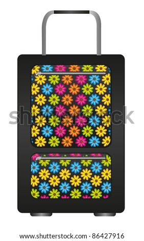 black travel bag with flowers cartoon isolated over white background. vector - stock vector