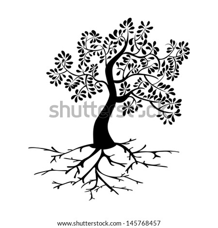 Black tree icon and roots silhouette isolated background. Vector file layered for easy manipulation and custom coloring. - stock vector