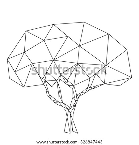 black tree polygonal silhouette isolated on white background vector contour. - stock vector