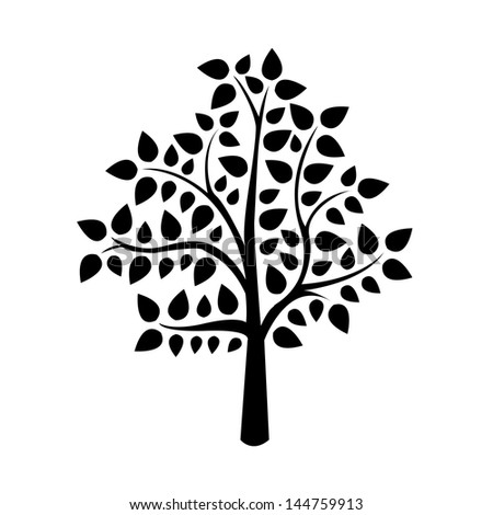 black tree silhouette isolated on white background, vector illustration - stock vector