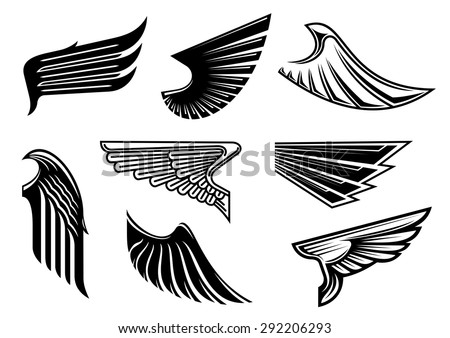 Black tribal wings with pointed feathering isolated on white for tattoo,religious or heraldic design - stock vector