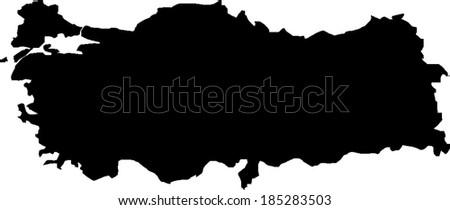 Black Turkey Vector Map - stock vector