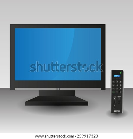 Black TV screen remote control technology isolated - stock vector