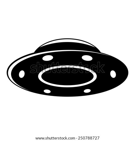 Black UFO isolated on white background, vector illustration - stock vector