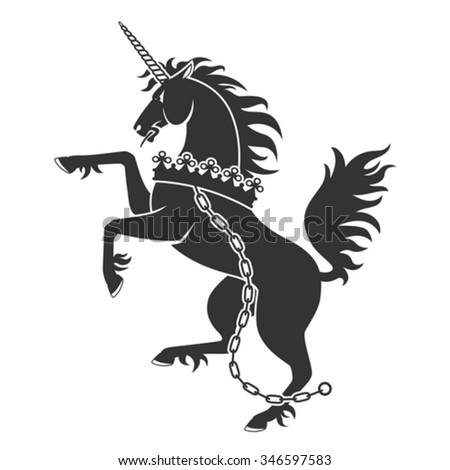 Black Unicorn For Heraldry Or Tattoo Design Isolated On White Background - stock vector