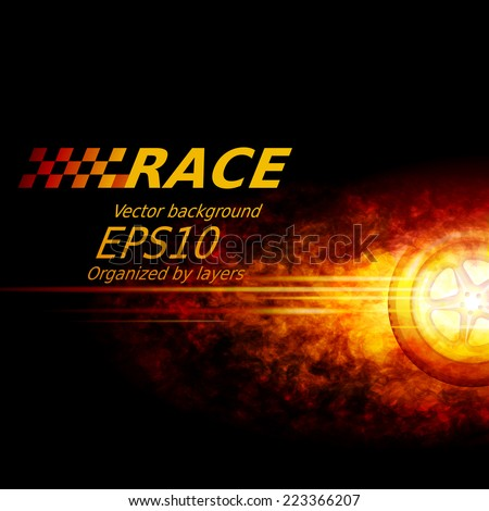Black vector background with wheel and flame. Eps10. Transparency used. RGB. Organized by layers. Global colors. Gradients used. - stock vector