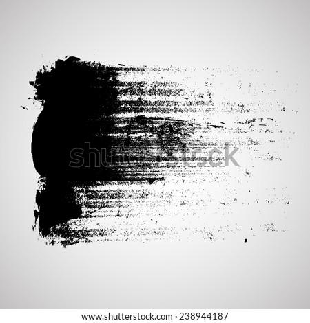 Black Vector Brush Strokes . Banner Design . Vector Grunge Logo Design Template. - stock vector