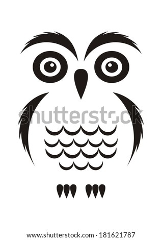 Black vector cartoon simple owl icon on white - stock vector