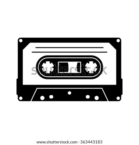Black vector cassette silhouette icon isolated on white - stock vector
