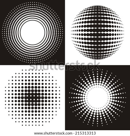 Black vector circle abstract halftone design collection - stock vector