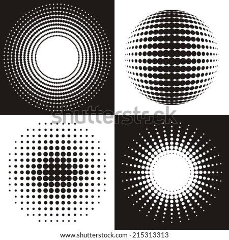 Black vector circle abstract halftone design collection - stock vector