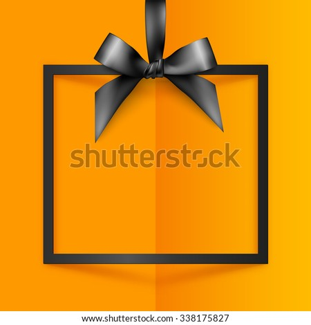 Black vector gift box frame with silky bow and ribbon on orange folded paper background - stock vector