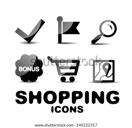 Black vector glossy shopping icon set - stock vector