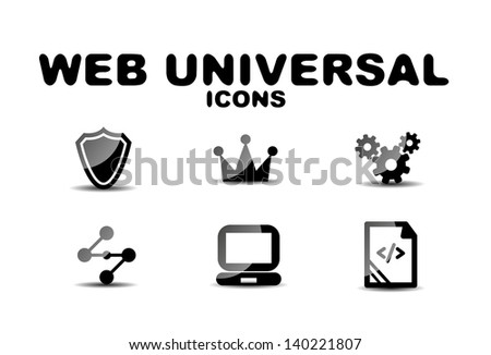 Black vector glossy web universal icon set - stock vector